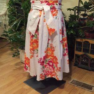 EVA MENDES Floral Cotton Detailed Skirt